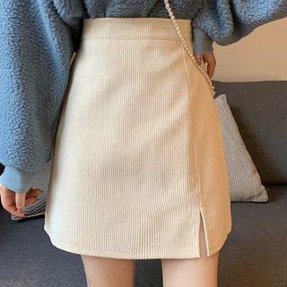 燈芯絨開衩拉鍊短裙 米白