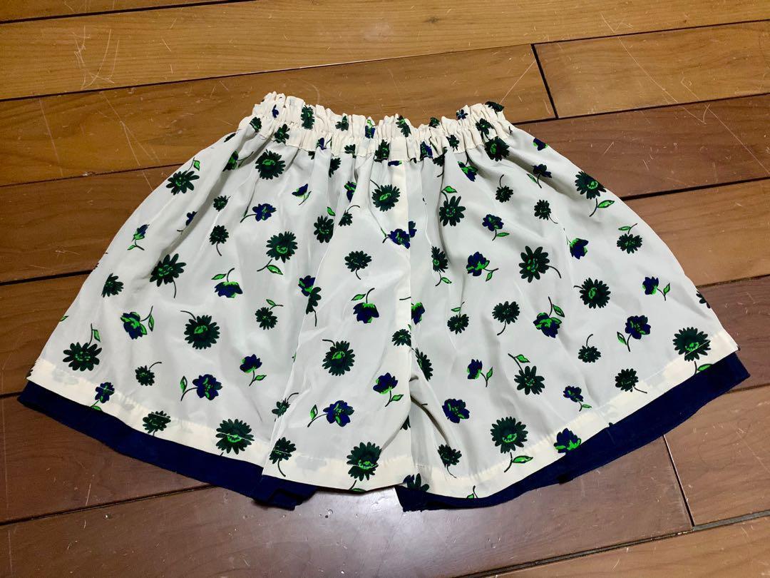 彈性鬆緊腰圍 夏季雙層雪紡女童褲裙 短褲