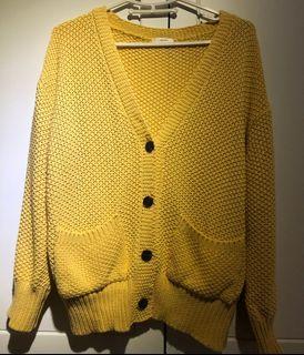 正韓 賣家may5253 黃色粗毛衣外套