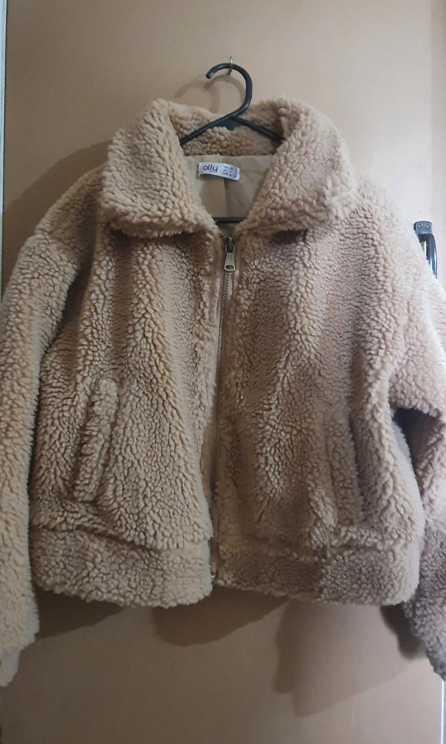Ally Fashion Cropped Teddy Jacket