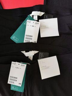 AUTH H&M 2 PACK JERSEY LEGGINGS / pants  -  BLACK