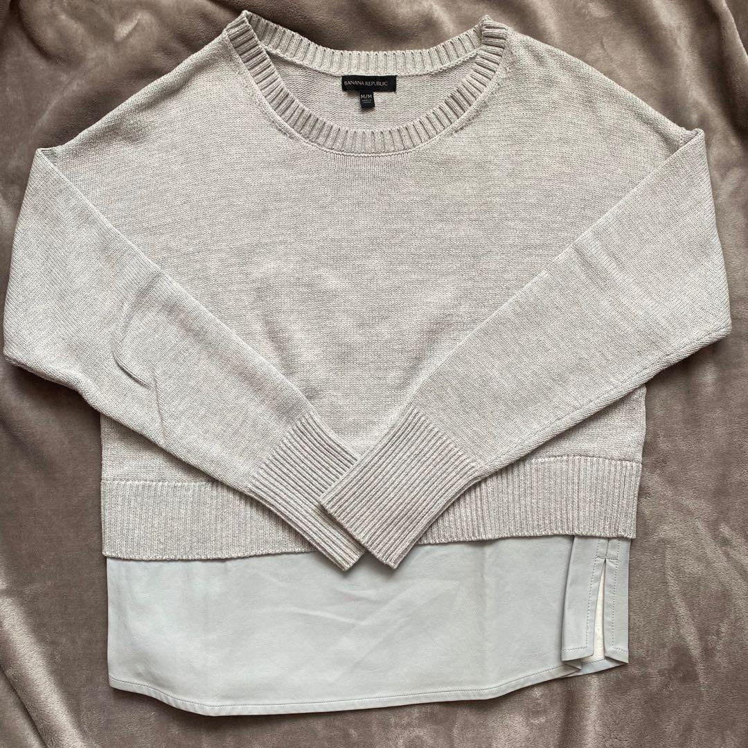 Banana Republic Faux Leather Knit Sweater