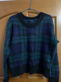HEATHER經典藍綠格毛衣#換季
