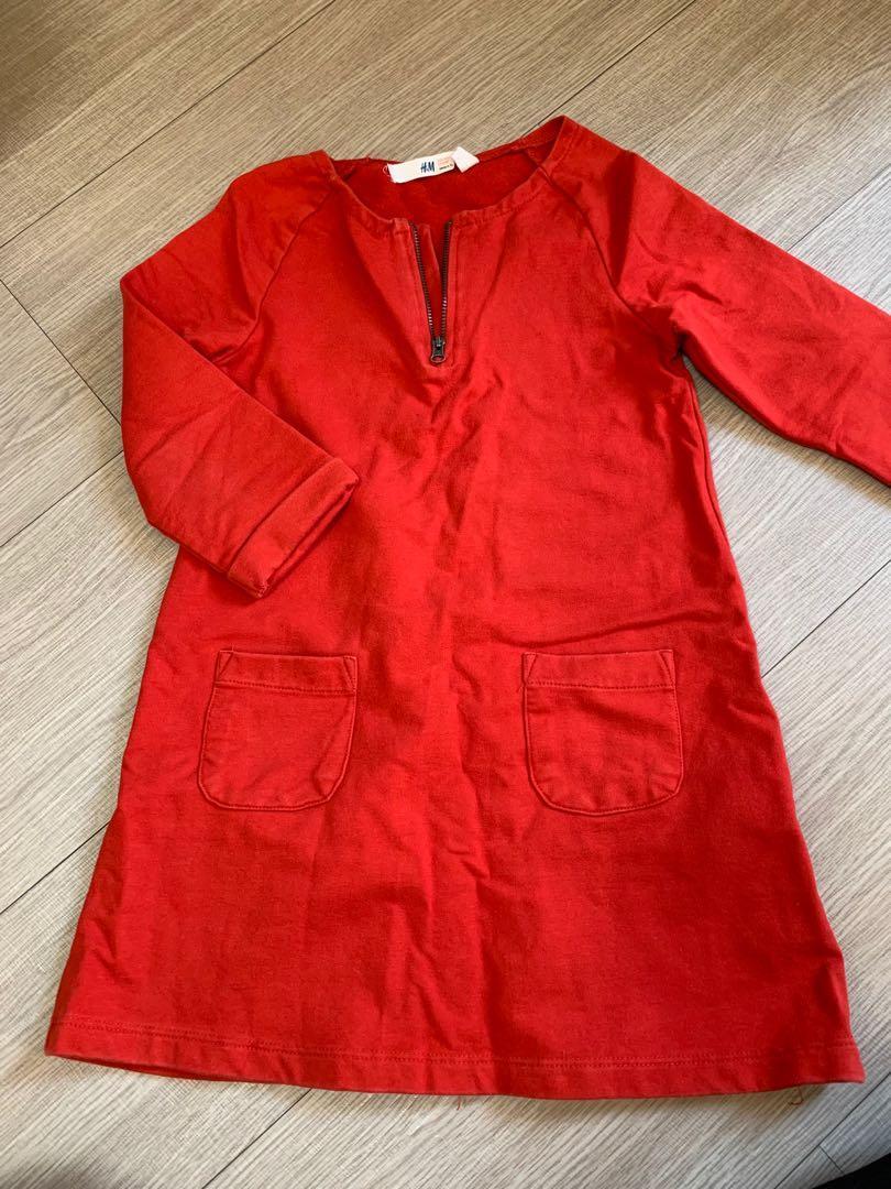 H&M  6-8歲女童洋裝115-125cm#開運紅