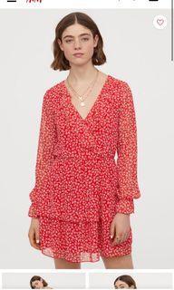 H&M Red Floral chiffon dress