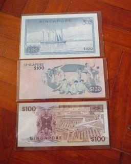 Orchid, bird and ship series $100 notes, lot of 3pcs.