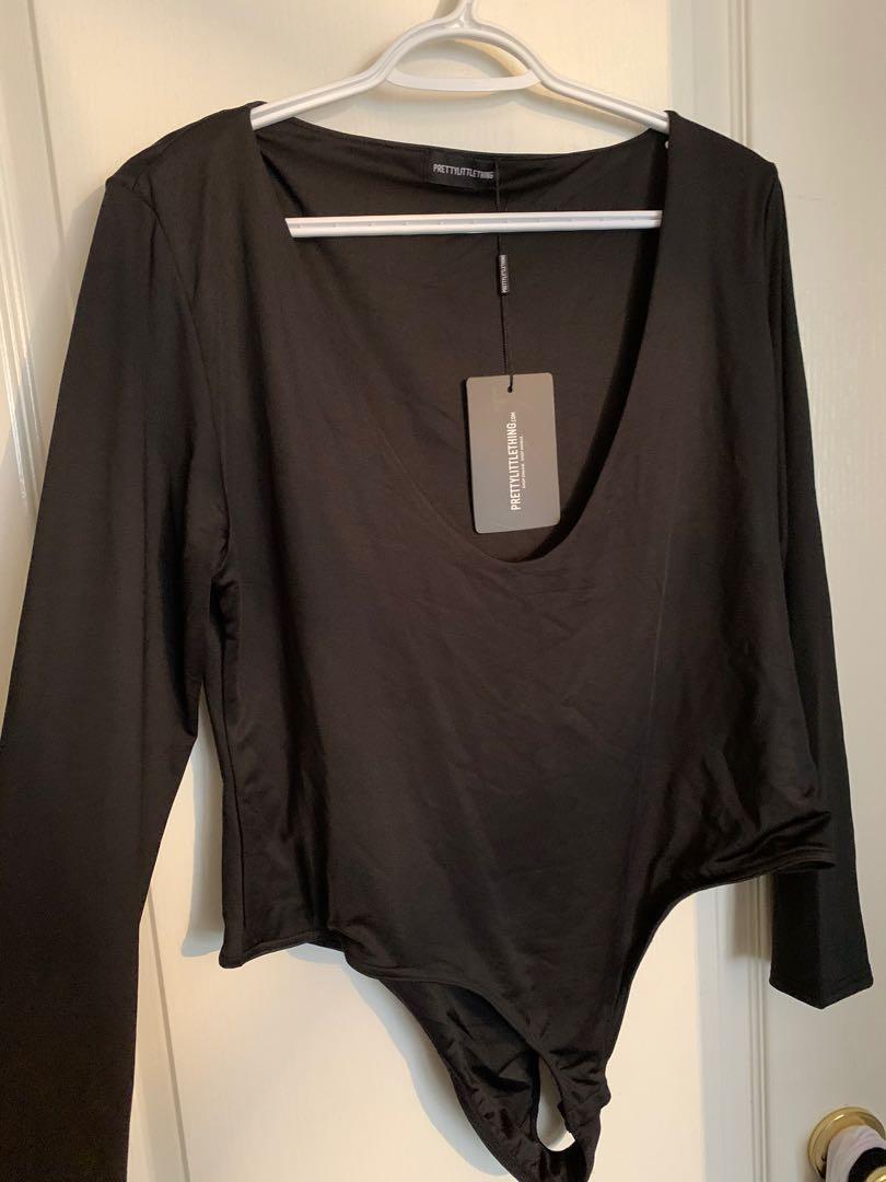 PLT Plus plunged neck bodysuit