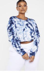 PLT Plus tie dye navy crop sweater