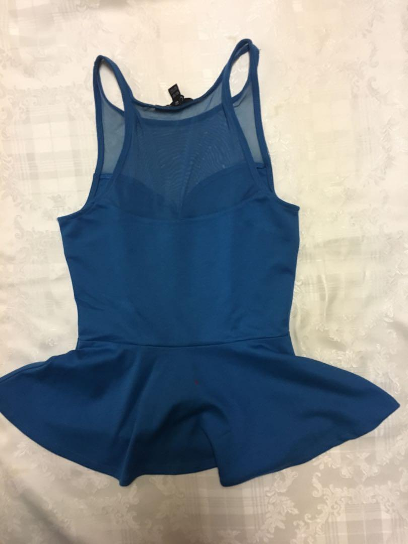 Sexy blue mesh top peplum blouse