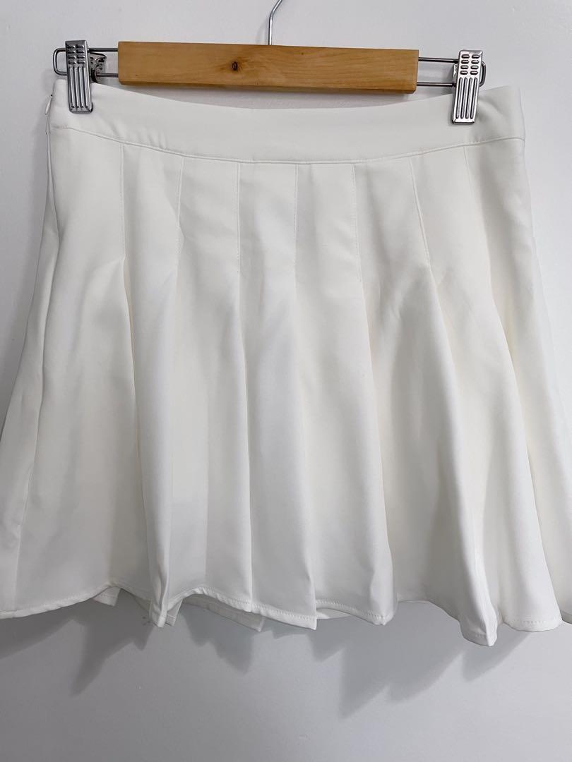 Shein white pleated skirt