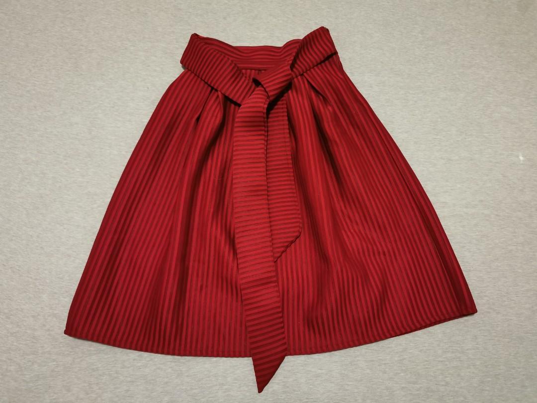 Vintage red A line striped skirt