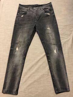 近新Zara刷破刷舊灰黑色牛仔褲31腰有彈性