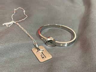 情侶愛心鎖項鍊手環