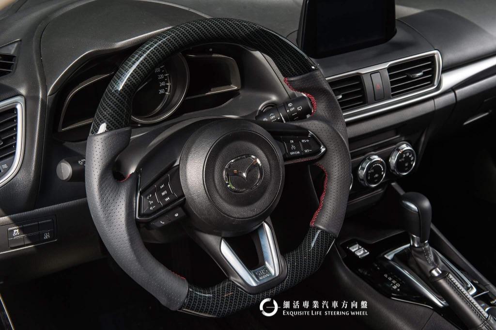 [細活方向盤] 馬自達 MAZDA Mazda3 CX3 CX5 水轉印卡夢款 變形蟲方向盤 方向盤