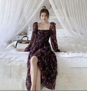 Candy W❤️實拍❤️ 法式優雅方領碎花公主袖長洋裝
