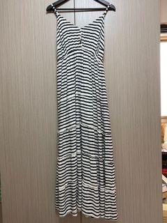 二手/古著I.MODA黑白條紋相間軟布連身細肩帶長洋裝/2L