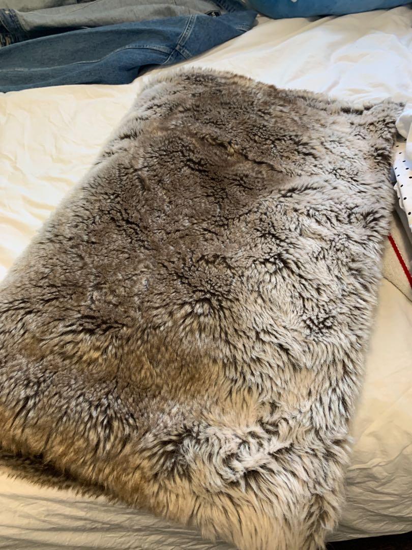 indigo fur throw blanket