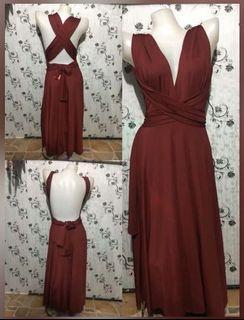 Infinity Dress Maroon/Burgundy Freesize