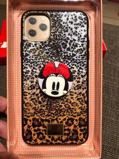 二手RF iPhone 11 Pro Max 豹紋圖案手機殼  附米妮泡泡騷(手機支架)