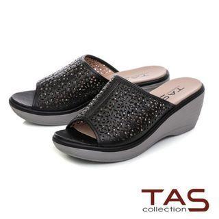 全新TAS鏤空雕花厚底楔型涼拖鞋 百搭黑