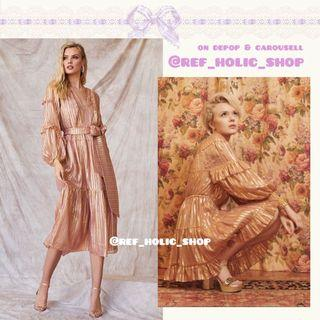 Ulla Johnson Averil Metallic Long Sleeve Striped Mini Dress, Talitha Metallic Long Sleeve Striped Belted Midi Dress