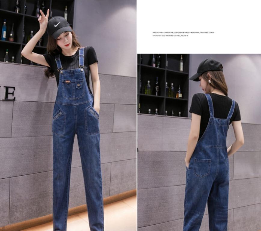 新款韓版寬鬆時尚洋氣牛仔吊帶褲(預購商品,約10~20天左右到貨,急單勿下!!)