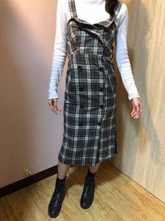 格紋連身洋裝(模特兒168/55)