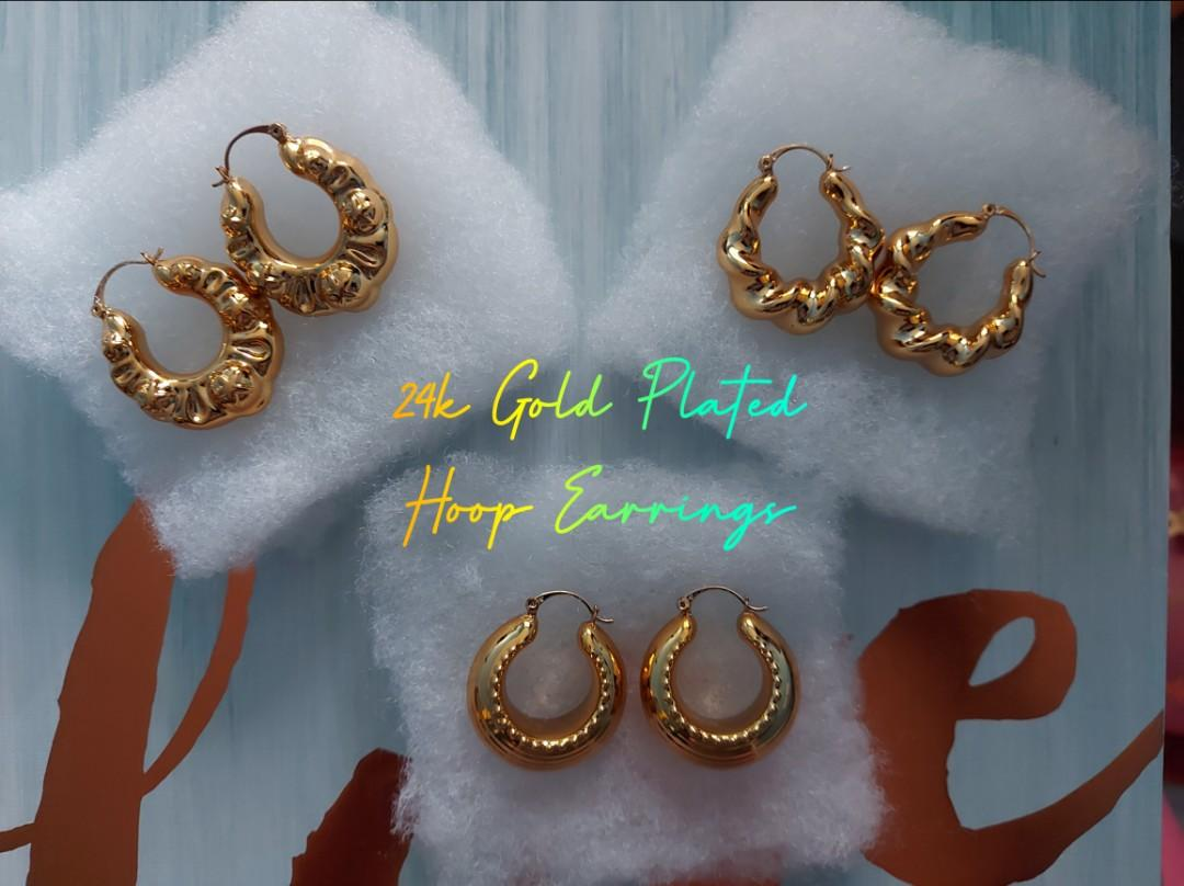 24k Gold Plated Hoop Gold Plated  Beads Earrings