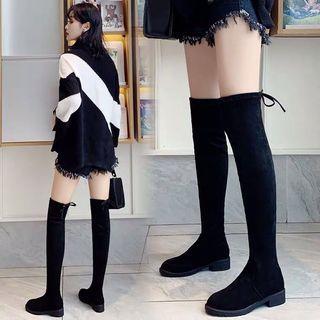 黑色 彈力絨面 過膝長靴 超顯腿長 內增高 矮個救星