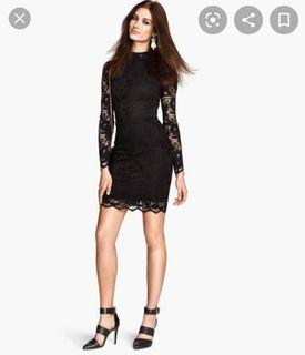 H&M long-sleeved black dress with lace
