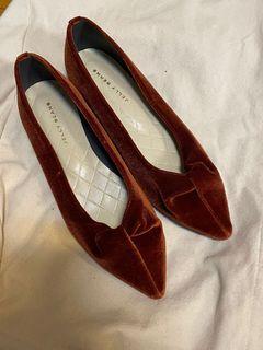 Jellybeans 亮橘絨布材質軟墊娃娃鞋(日本製)