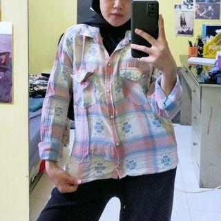 Kemeja Flannel Pink Blue