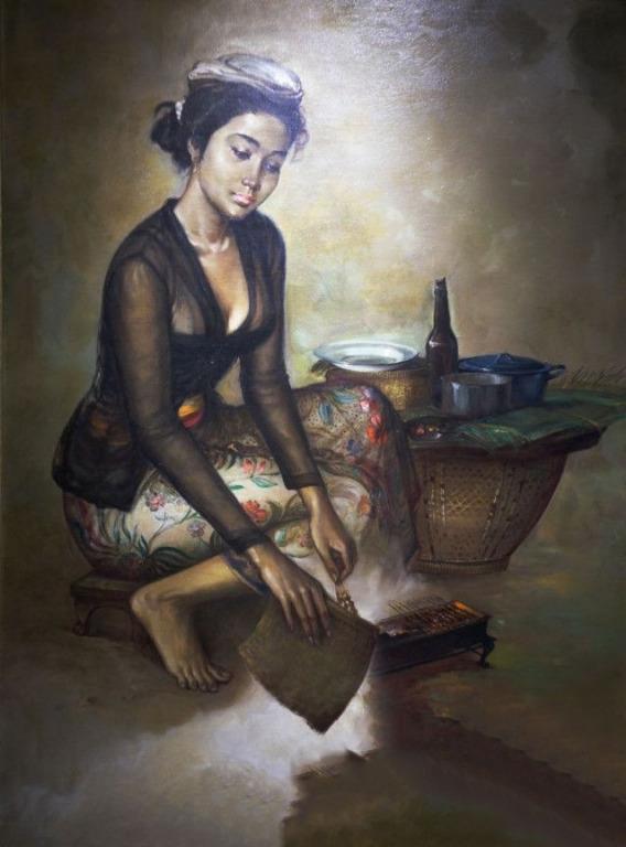 lukisan kanvas tradisi 90 x 130 cm