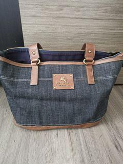 Burberry blue label denim blue tote bag