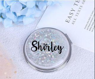 Custom compact mirror, personalised gifts for her, birthday gifts, farewell gifts, glitter silver mirror