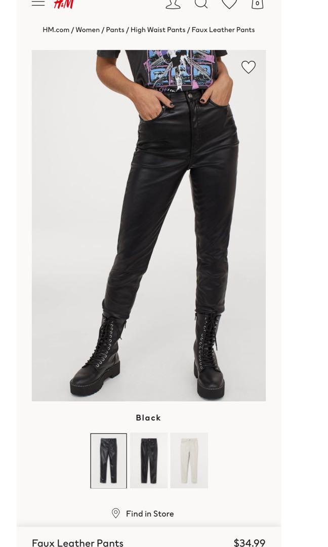 Faux leather pants high waisted