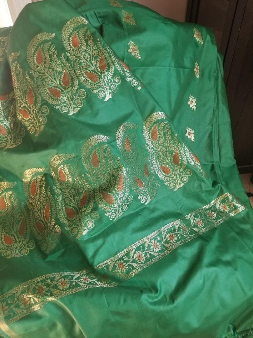 Green silk banarasi with resham and jori work
