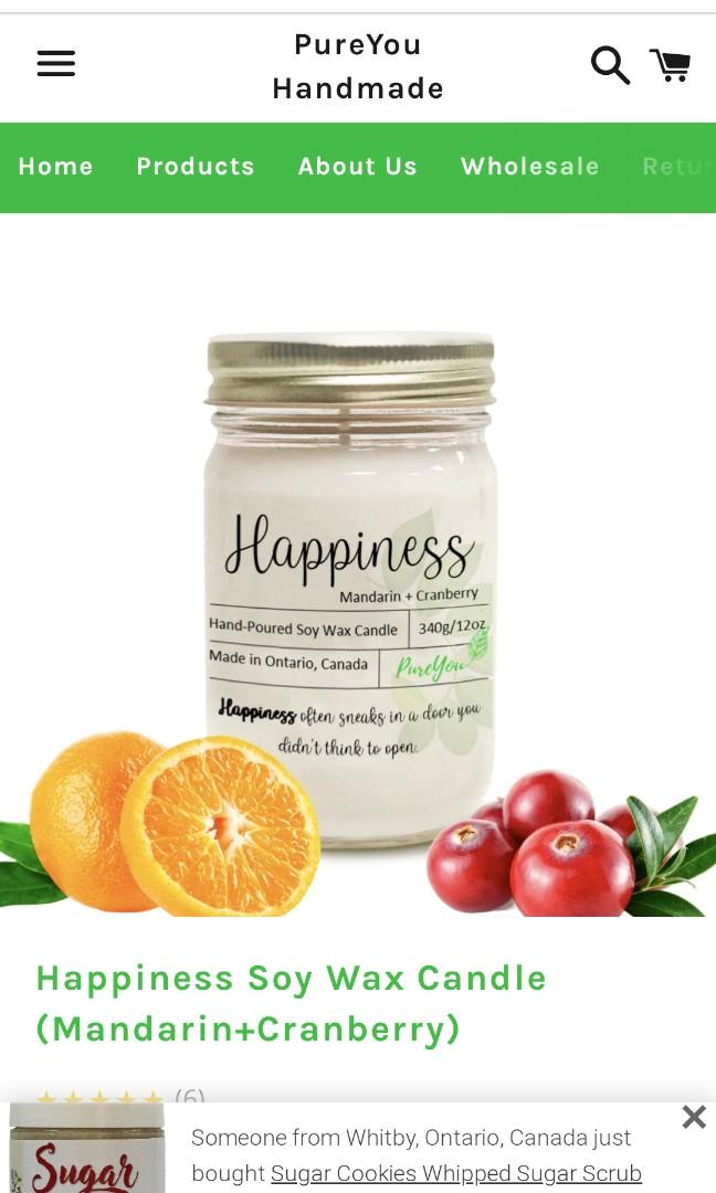 🌸Happiness Soy Wax Candle (Mandarin+Cranberry) By Pure You