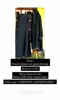 Set gamis hitam French khimar  FREEONG JABODETABEK