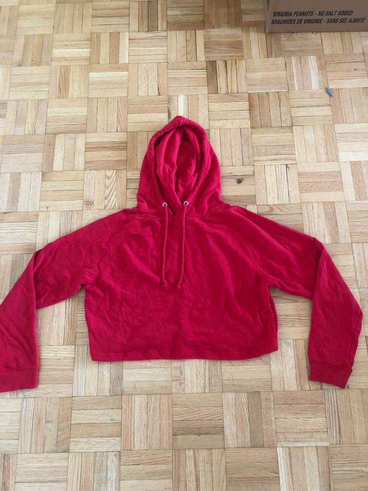 Red hoodie crop top