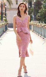 Textured Dress in Dusty Pink