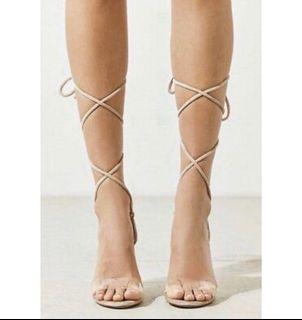 Velvet Nude Lace up sandals