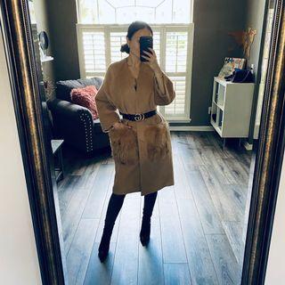 Wool coat w fox fur pockets S-M (36-38)