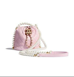 (訂購)2021新款 Chanel珍珠水桶袋 pearls mini bucket  粉紅