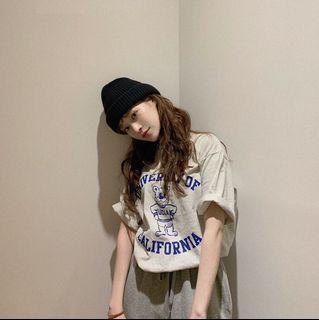 2色*韓妞穿搭小熊字母短袖T恤(A2598)