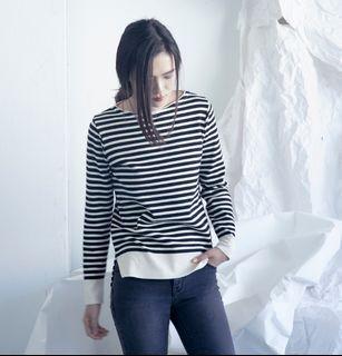 米黑橫條紋百搭柔軟針織衫