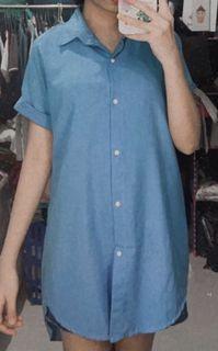 Dress biru kancing