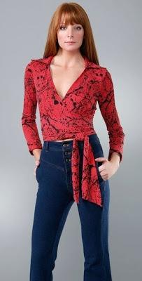DVF Red Judy Vintage Silk Wrap Top on Sale!!