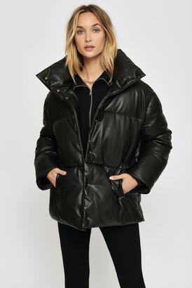 Dynamite Soho Faux Leather Puffer Jacket (Jet Black) XS