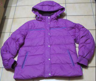 TRAVELER旅行者XL號,紫色+深藍.粉藍滾邊,帽子可拆,防潑水羽絨外套